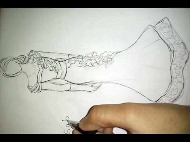 How to draw Wedding dress.Fashoin illustration. - clipzui.com