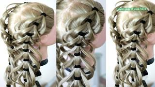 Ажурная коса на резиночках  Причёска в школу  Подробный видео урок Hair tutorial