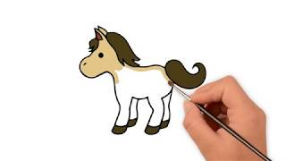 How to draw an Horse  - How to draw funny cartoons