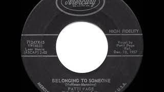 1958 HITS ARCHIVE: Belonging To Someone - Patti Page YouTube Videos