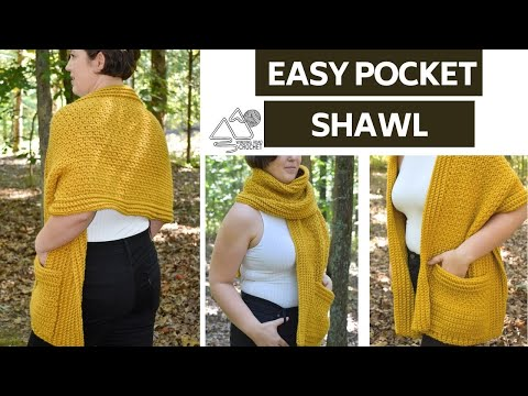 CROCHET: Easy Pocket Shawl, Step by Step Tutorial, Easy Crochet Pattern