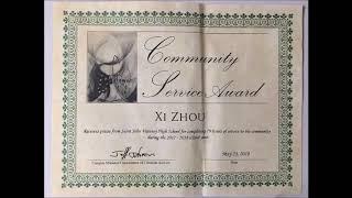 Xi Zhou received Community Service Award for 2017-2018 school year
