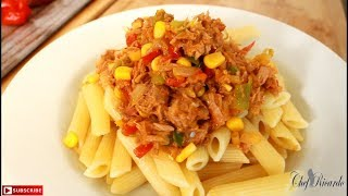 Vegetable fried tuna serve with pasta.From Caribbean Chef