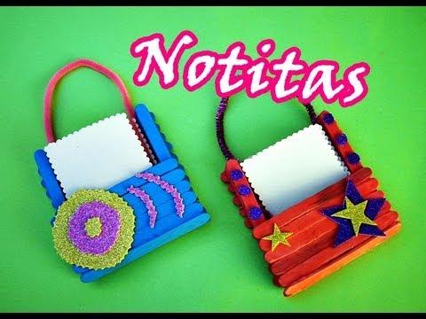 Manualidades con palitos porta notitas cute youtube - Manualidades con palitos ...