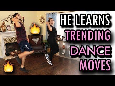 Teaching My Boyfriend Trending Dance Moves!!