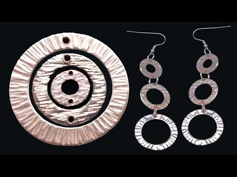 Easy Cute Hammer Textured Drop Earrings Made From Copper Washers