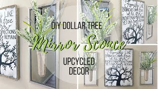 DIY DOLLAR TREE MIRROR SCONCE | UPCYCLED DECOR