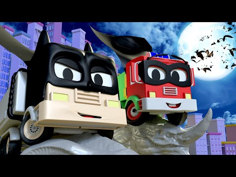Car garage for kids -  Frank and Baby Frank are Batman & Robin - Toms Paint Shop in Car City
