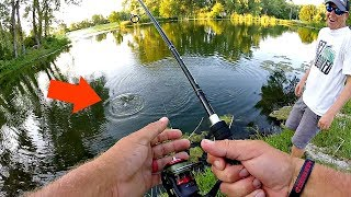 IMPOSSIBLE Fishing Challenge?? Pond BASS FISHING w/ 2 lb Line!!!