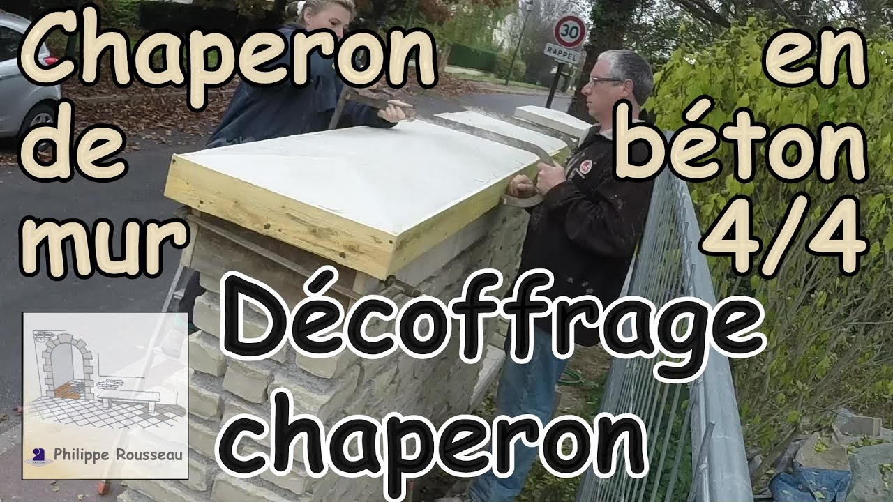 Pose chaperon de mur couvertine en b ton partie 4 4 d coffrage chaperon - Comment faire de la barbotine de ciment ...