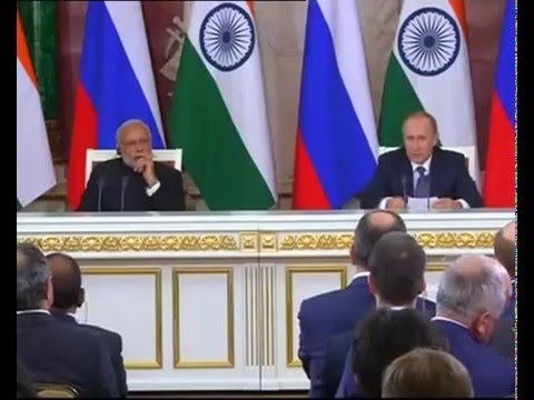 PM Modi at the Joint Press Statement with the President of Russia Vladimir Putin in Moscow, Russia