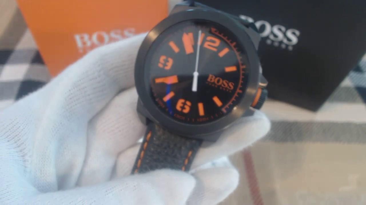 c44046244b0 Men s Black Hugo Boss Orange Leather Strap Watch 1513152 - YouTube