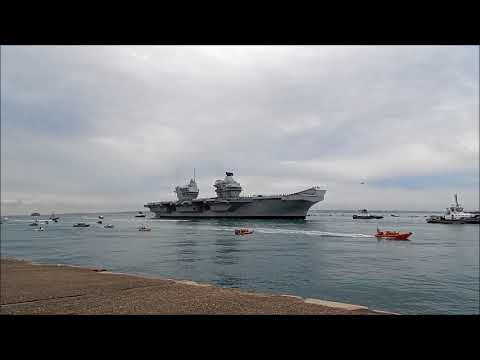 HMS Queen Elizabeth sailing into her home port, Portsmouth for the first time 16th Aug 2017