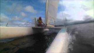 First crack at racing a catamaran. Wet.