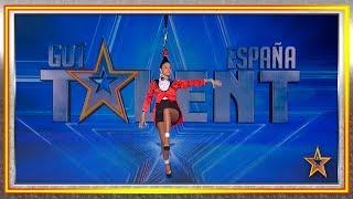 Su vida en riesgo volando por los aires sujetada por su pelo | Audiciones 4 | Got Talent España 2019