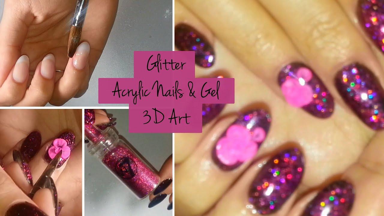 Neon hot pink nails