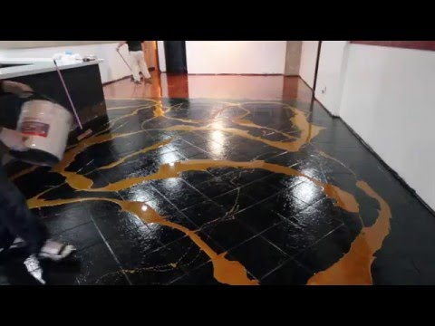 DESIGNER METALLIC EPOXY INSTALLATION ON CERAMIC TILE