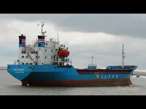 bulk carrier WILSON REEF 9HUY5 IMO 7382665 BJ 1975 outbound Emden seaship merchant vessel