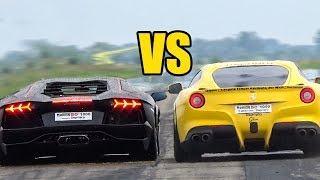 Ferrari F12 vs Lamborghini Aventador LP700-4 - SOUND BATTLE!