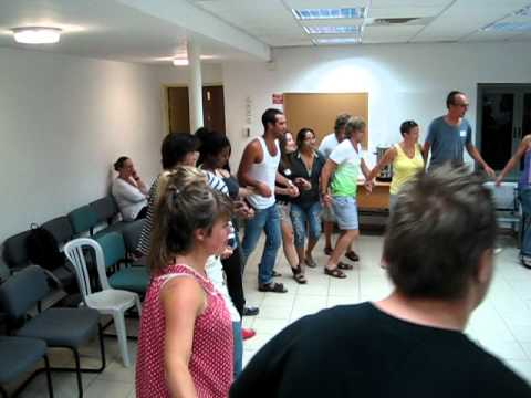 Falk dances in the Kibbutz volunteer