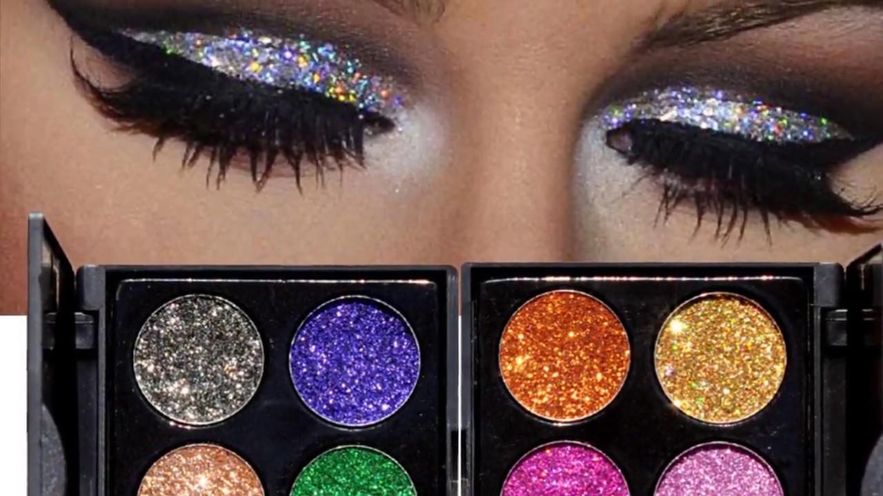 Нейтральный вечерний макияж глаз с блестками: видео-урок - YouTube