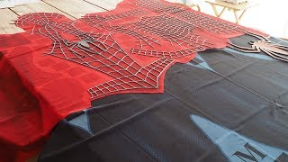 Spider-Man Costume Printed Fabric, Raised Webbing and Spiders