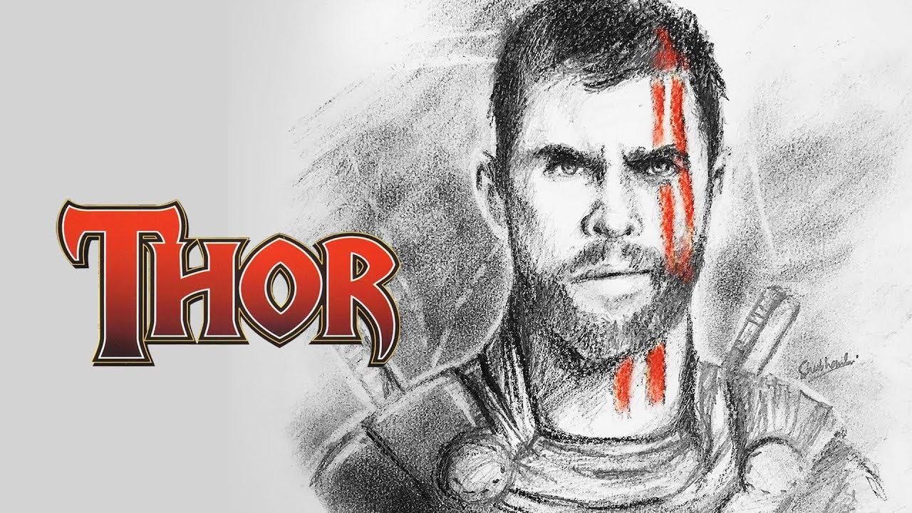 Thor ragnarok pencil sketching