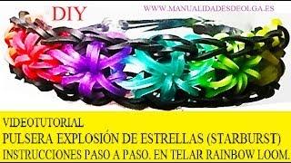 Repeat youtube video COMO HACER PULSERA ELÁSTICA MODELO EXPLOSIÓN DE ESTRELLAS EN TELAR RAINBOW LOOM TUTORIAL ESPAÑOL DIY