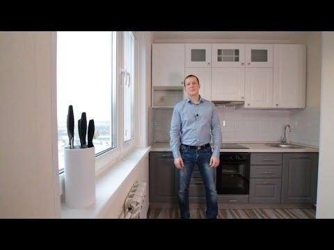 Дизайн кухни прямой в однокомнатную квартиру П-44 из эмали.