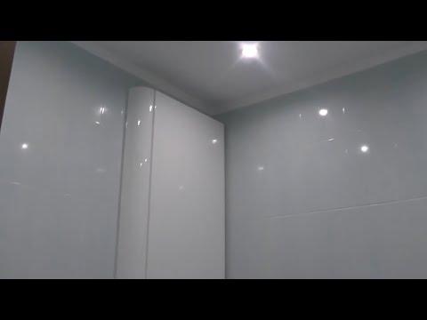 Шкаф в ванную комнату с мдф. Мебель без ручек на заказ Киев.