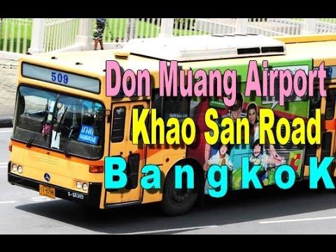 BUS From DON MUANG Airport to KHAO SAN ROAD - Bangkok Thailand [HD]
