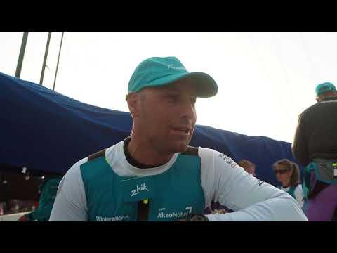 Team AkzoNobel Volvo Ocean Race Guangzhou In Port Race dock in interviews