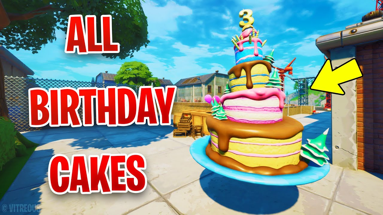 Dance In Front Of Different Birthday Cakes All Locations Fortnite Season 4 Birthday Challenges Youtube