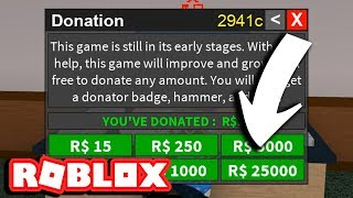 DONATING 25000 ROBUX TO THIS GAME (ROBLOX FLEE THE FACILITY)