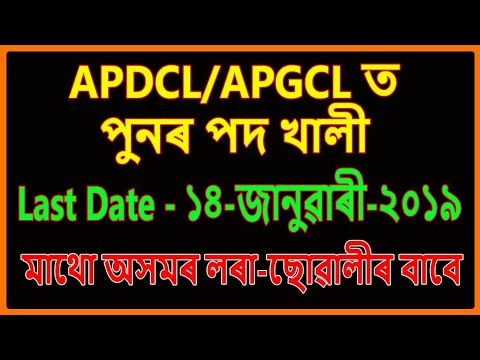 APDCL APGCL Vacancy 2019 for Various Post in Assam || Education For Assam