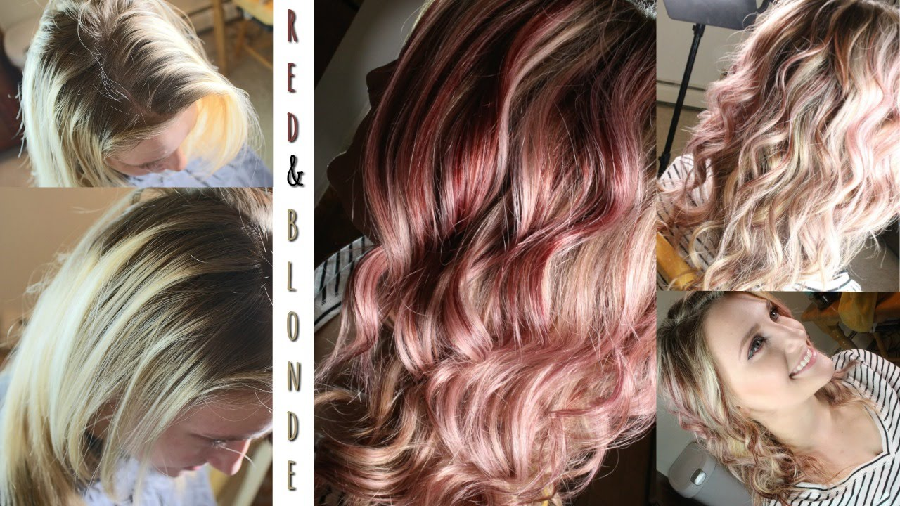 Red Blonde Foils Hair Color Tutorial Youtube