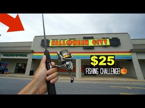 $25 Halloween Store Fishing Challenge!! (Craziness!)
