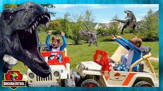 Dinosaurs vs Aliens! Search for Dinosaur Park with T-Rex Dinosaur Escape - Chase and Cole Adventures