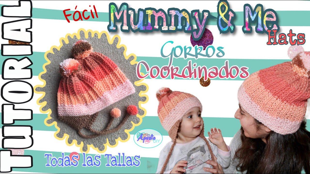 Gorro Mummy(Daddy)&Me en Agujas Circulares y Dos Agujas TODAS las TALLAS