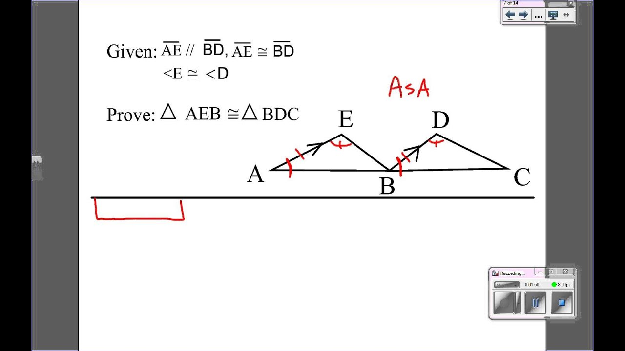 Triangle proofs with parallel lines - YouTube