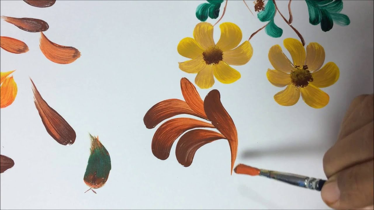 Watercolor Flowers And Paint Brushes: One Stroke Painting With Round Brush Practice Various