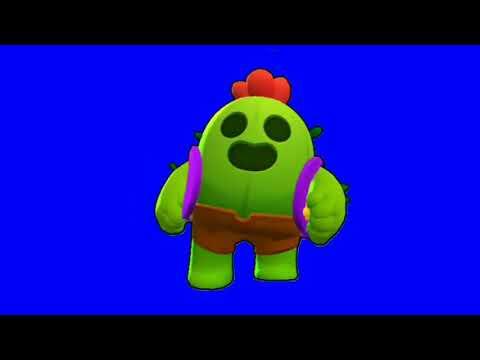 Футаж бегущего Спайка Бравл Старс   Footage green screen running Spike Brawl Stars