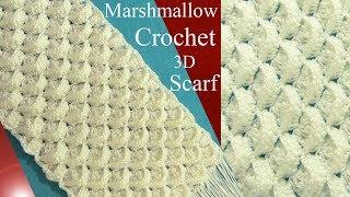 Bufanda chalina a Crochet  3D en punto marshmallow  o malvavisco tejido tallermanualperu