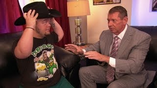 Mr. McMahon shows Hornswoggle his impression of Jim Ross: Raw,…