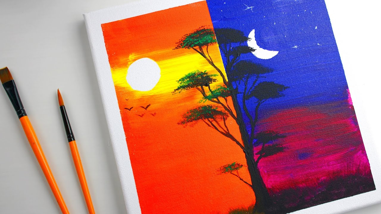 Day & Night Tree painting   Acrylic painting   Art Channel ...