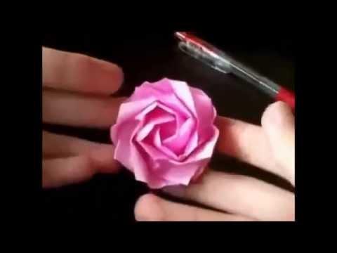 Como hacer una rosa de papel origami paso a paso youtube - Como secar una rosa ...