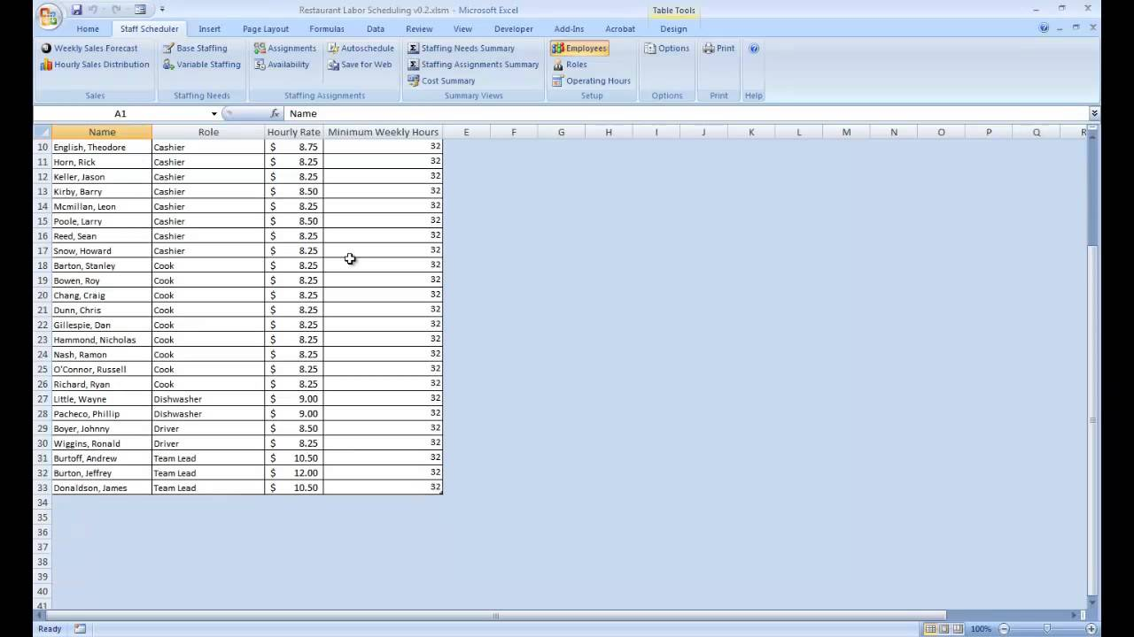 labor scheduling template for excel setup functions youtube