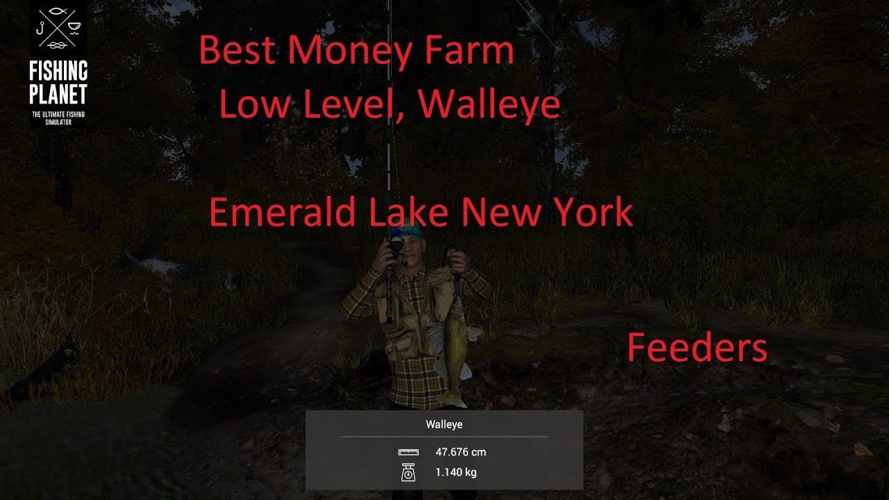 Fishing Planet, Best Money Farm Low Level, Emerald Lake New York, Walleye,  Feeders