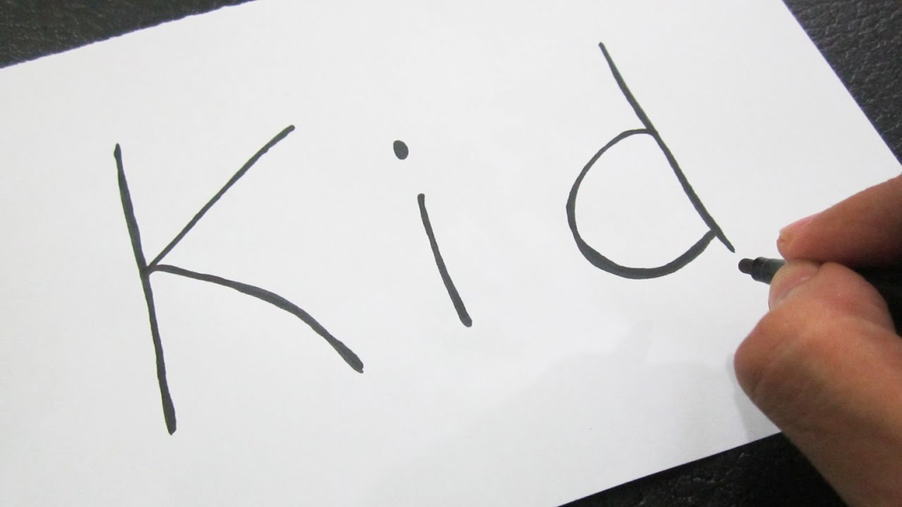 How to turn words KID into a Cartoon ! Learn drawing art on paper ...