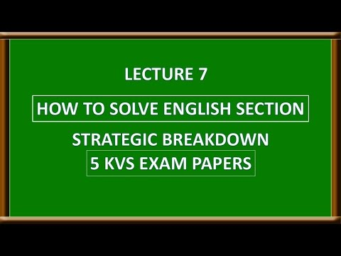 Lecture 7 | How to solve English Section in KVS NVS | English Strategy | KVS Preparation